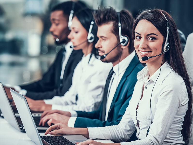 happy team in a call center